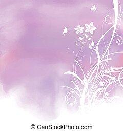 acquarello, fondo, floreale