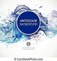 acquarello, fondo., vettore, illustrazione, onda
