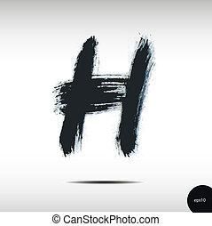acquarello, h, lettera, calligraphic