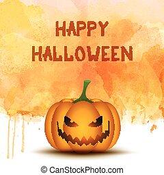 acquarello, halloween, fondo, zucca