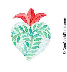 acquarello, heart., sacro, illustrazione