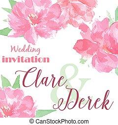 acquarello, matrimonio, peonia, invito