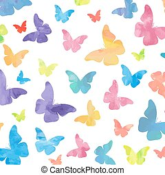 acquarello, modello, farfalle, seamless