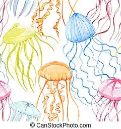 acquarello, modello, vettore, medusa