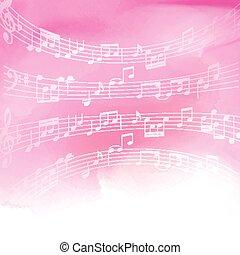 acquarello, note, musica, fondo