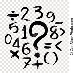 acquarello, numeri, calligraphic
