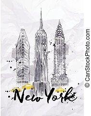acquarello, nuovo, costruzioni, york