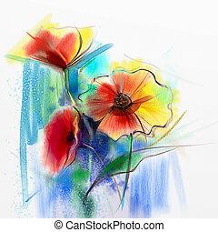 acquarello, primavera, astratto, fiore, pittura