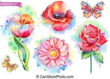 acquarello, primavera, set., fiori, vettore