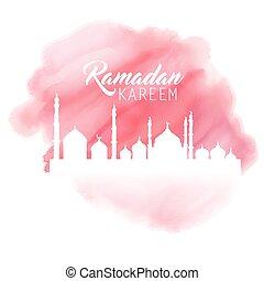 acquarello, ramadan, fondo