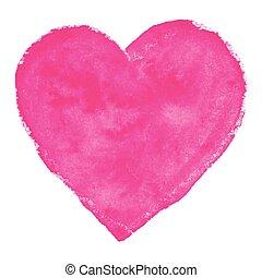acquarello, rosa, cuore