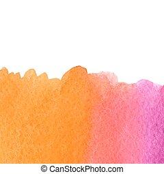 acquarello, rosa, vettore, arancia
