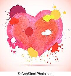 acquarello, rosa, vettore, cuore