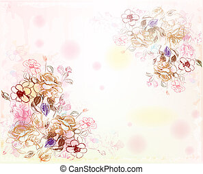 acquarello, rose, art linea, fondo