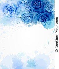 acquarello, rose, astratto, sagoma