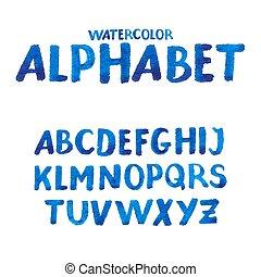 acquarello, scritto mano, alfabeto, symbols., numeri