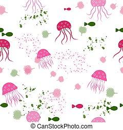 acquarello, seamless, medusa, pattern:, isolato, pesce bianco, blots, fondo.