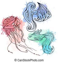 acquarello, set, medusa, scarabocchiare, fish, creatività, elemento, splashes., boho, vettore, modello, decorato, marino, tuo