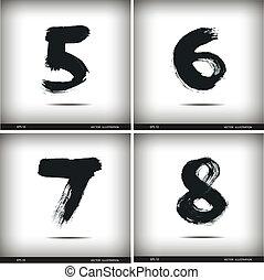 acquarello, set, numeri, calligraphic