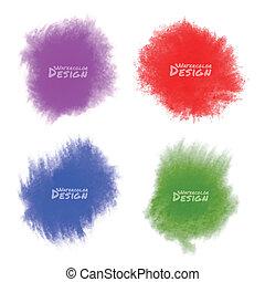 acquarello, set, splatters., colorito