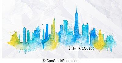 acquarello, silhouette, chicago