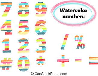 acquarello, simboli, numeri, disegnato