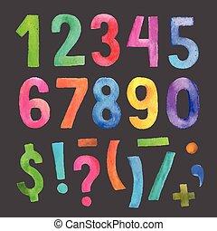 acquarello, simboli, numeri, scritto mano