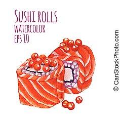 acquarello, stile, vettore, sushi., illustrazione