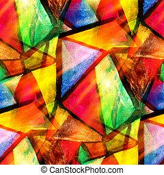 acquarello, triangolo, colorare, modello, astratto, seamless, struttura, acqua, vernice, giallo, disegno, carta, fondo, verde, arte, rosso