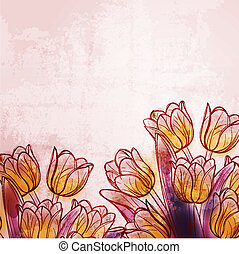 acquarello, tulips, retro