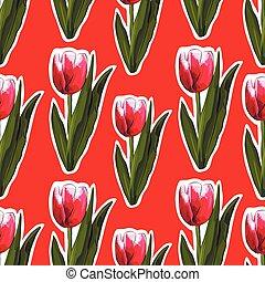 acquarello, tulips, seamless, fondo.