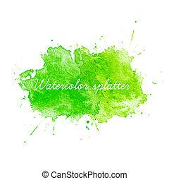 acquarello, verde, vettore, splatters., illustrazione