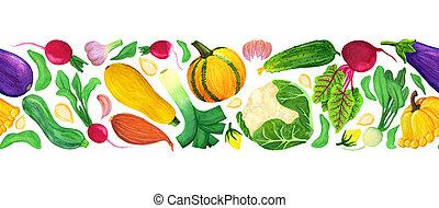acquarello, verdura, seamless, bordo, fresco
