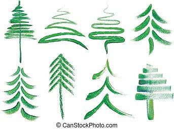 acquarello, vettore, alberi natale