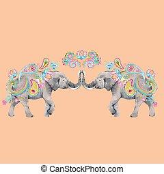 acquarello, vettore, illustrazione, elefante