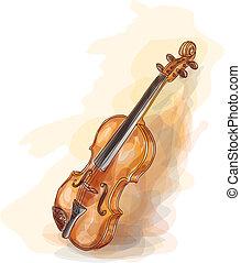 acquarello, violin., style.