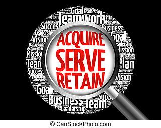 acquisire, servire, parola, nuvola, mantenere
