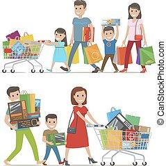acquisti, camminare, famiglia, due, sorridente