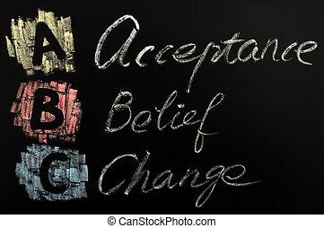 acronimo, abc, accettazione, credenza, -, cambiamento