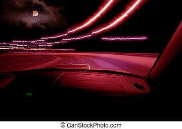 ad alta velocità, automobile, guida, notte
