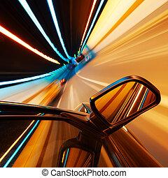ad alta velocità, automobile, notte