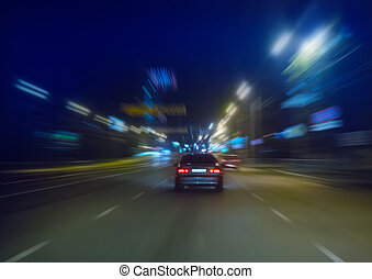 ad alta velocità, movimento, notte