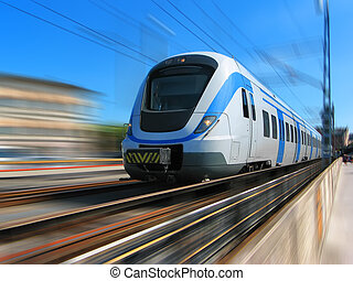 ad alta velocità, movimento, treno, offuscamento
