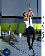 adattare, palestra, croce, corda, idoneità, arrampicarsi, esercizio