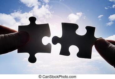 adattare, puzzle, due, insieme, pezzi, mani, tentando