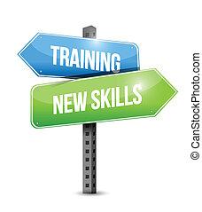 addestramento, abilità, illustrazione, segno, disegno, nuovo, strada
