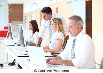 addestramento, moderno, uffici, affari