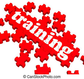 addestramento, puzzle, esposizione, istruire, affari