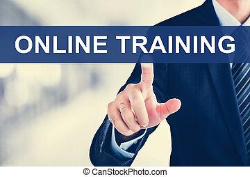 addestramento, schermo, virtuale, mano, toccante, linguetta, linea, uomo affari