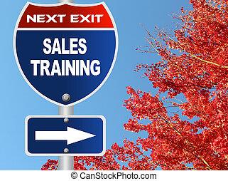 addestramento, vendite, segno strada